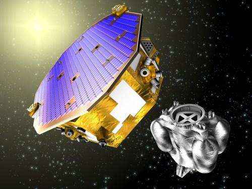 Vue d'artiste de la mission LISA Pathfinder et son module de propulsion après la séparation. (crédit ESA)