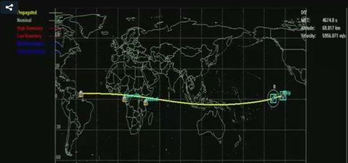 Capture d'écran de la retransmission lors de la rentrée de l'IXV