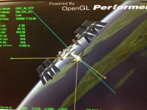 Vue de la Station volant dans l'axe normal XVV vue éloignée depuis l'arrière de l'ATV