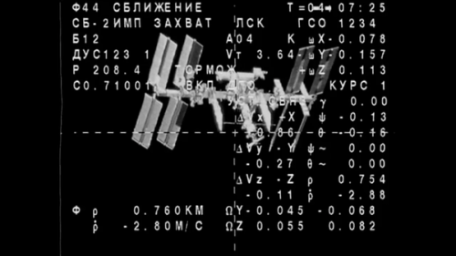 L'ISS vu depuis le Soyuz TMA16-M en approche (Source NASA TV)