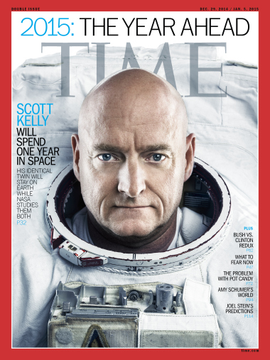 "Couverture de Time Magazine ""1 year Mission de Scott Kelly"""