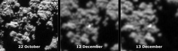 """Images comparatives """"avant"""" et """"après"""" de l'emplacement supposé à ce jour pour l'atterrisseur Philae de Rosetta (source comparatif : bbc.com, © ESA)"""