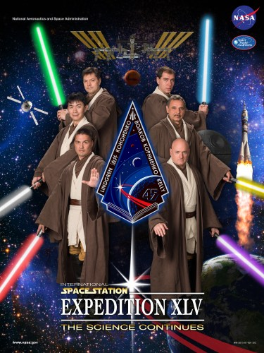 Hommage à Star Wars avec le poster de l'Expedition 45 de l'ISS (Credit NASA)