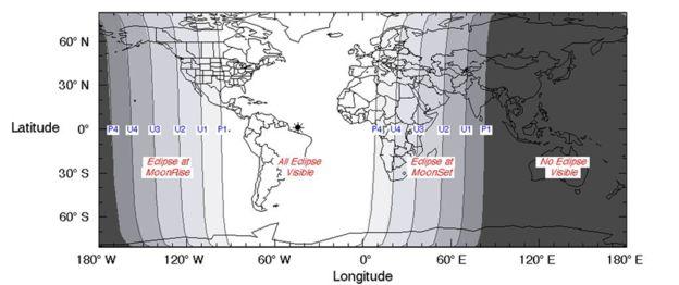 Carte représentant les zones où l'éclipse était visible (source NASA)