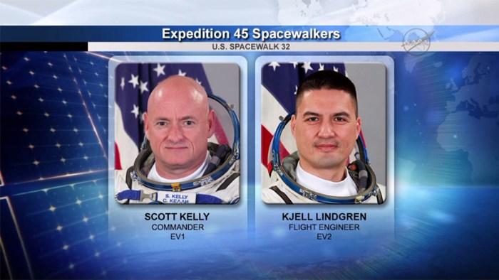 Les astronautes Scott Kelly et Kjell Lindgren (credits NASA)