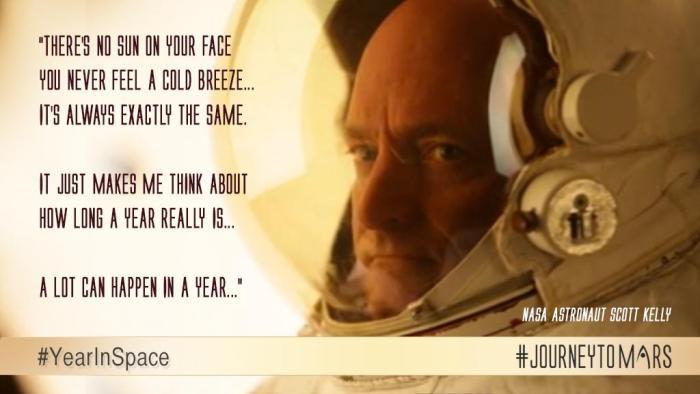 il n'y a pas de soleil sur votre visage vous ne vous sentez une brise froide ... il est toujours exactement la même. il me fait juste penser à combien de temps un an est vraiment. beaucoup de choses peuvent se produire dans un an (Credits NASA)