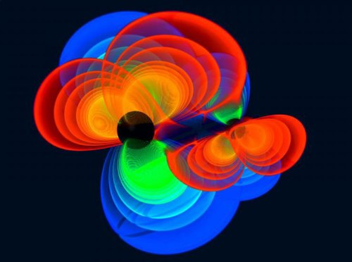 Sur une trajectoire de collision : cette simulation montre deux trous noirs qui spiralent l'un autour de l'autre et vont bientôt fusionner. Les ondes gravitationnelles sont émises dans ce processus (montré ici en tant que structures de couleur), que des observatoires sensibles sur Terre et dans l'espace devraient être en mesure de mesurer. (© C. Reisswig, L. Rezzolla, Max Planck Institute for Gravitational Physics (Albert Einstein Institute/AEI)/ M. Koppitz, Max Planck Institute for Gravitational Physics (Albert Einstein Institute/AEI)/ Zuse Institute Berlin)