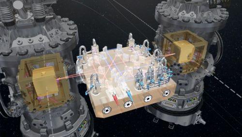 Au cœur de LISA Pathfinder, les deux masses d'épreuve: 2 cubes identiques flottant librement, à plusieurs millimètres des murs de leurs logements. Les cubes sont séparés par 38 cm et reliés seulement par des faisceaux laser pour mesurer leur position en permanence. (credit ESA/ATG medialab )