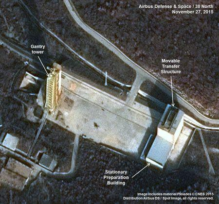 Airbus Defense & Space and 38 North satellite image of rocket launch site at Sohae North Korea