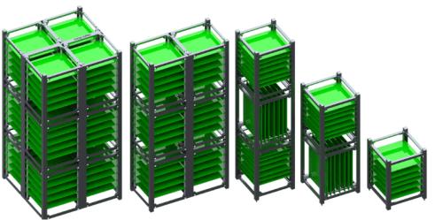 Les différents types de Cubesat (de gauche à droite) : 2U, 6U, 3U, 2U et 1U (source Juan D. Deaton via LinkedIn)