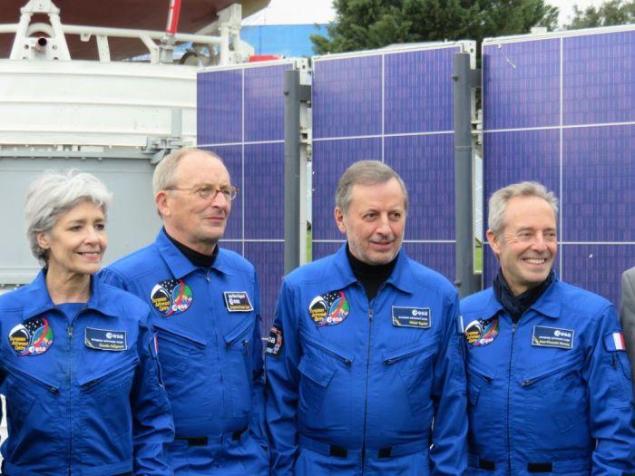 Conférence de Presse du 30ème Congrès Mondial des Astronautes 2017 à la Cité de l'espace à Toulouse. De gauche à droite : Claudie Haigneré, Jean-Pierre Haigneré, , Michel Tognini, et Jean-François Clervoy (photo ID)