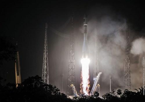 Décollage Soyouz VS15 le 24/05/2016 des satellites Galileo 13 et 14 (credits CGS/Arianespace/CNES/ESA)