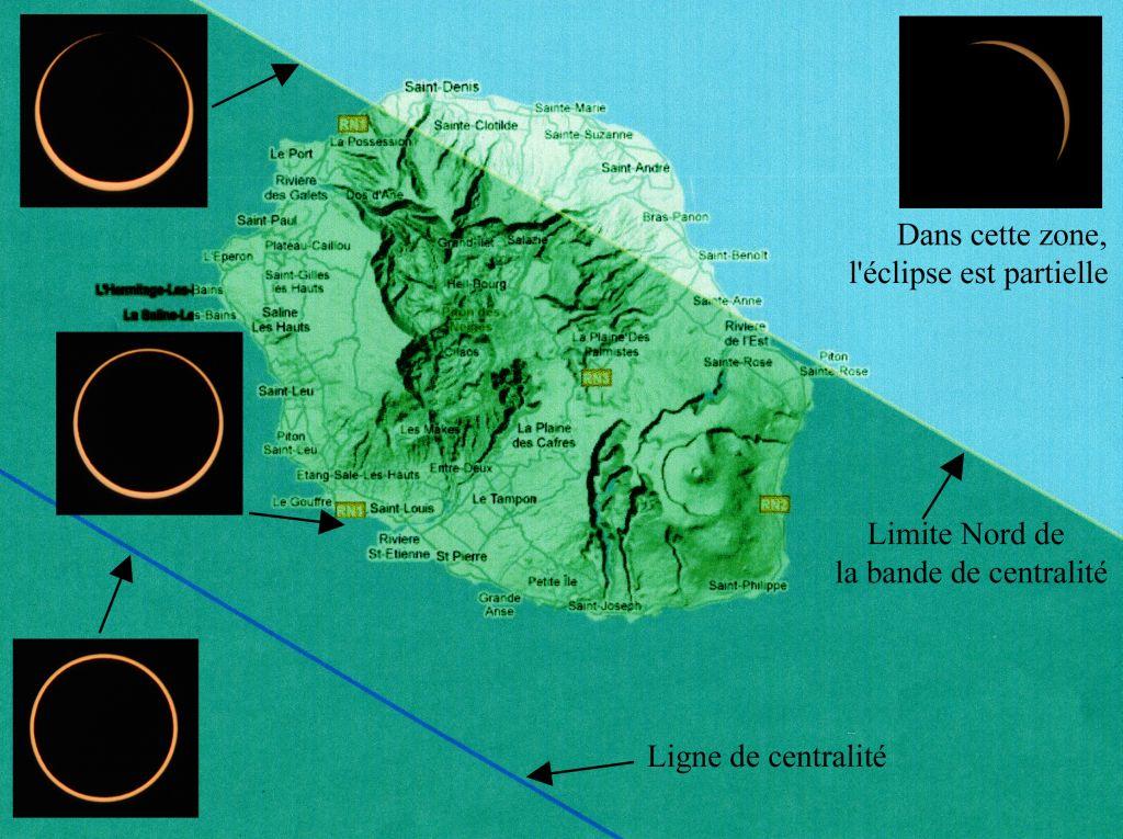 L'éclipse annulaire observable depuis La Réunion le 01/09/2016 (source : Observatoire des Makes)