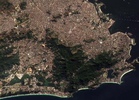 Rio de Janeiro, Brésil, le 13 juillet 2016 par le satellite Sentinel 2 (credit Copernicus/ESA).
