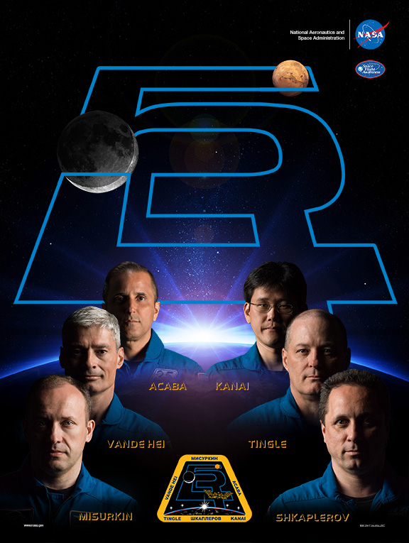 Expedition 54 : Joe Acaba, Mark Vande Hei, Alexander Misurkin (commandant), Anton Shkaplerov, Scott Tingle et Norishige Kanai (credit NASA)