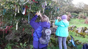 By a holy well on Inis Mor. Adding our prayers to the hawthorn tree.