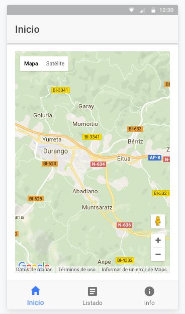 Pantalla de Inicio con nuestro mapa
