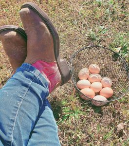 Basket of eggs by pink boots
