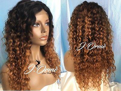"Beautiful 100% Brazilian Human Hair Deep Wave Custom Ombre Wig 1b/4/27 18"""