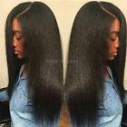 Glueless Brazilian Remy Human Hair Wigs Yaki Straight Lace Front Full Wig Black