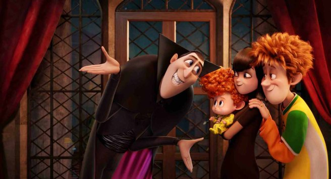 Dracula (Adam Sandler), Dennis (Asher Blinkoff), Mavis (Selena Gomez) and Jonathan (Andy Samberg) in Columbia Pictures and Sony Pictures Animation's HOTEL TRANSYLVANIA 2.