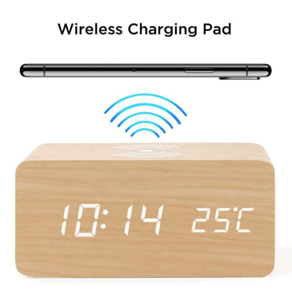87. Home Decor Wooden Alarm Clock With Qi Wireless Charging Pad-Best to buy things on aliexpress best sellers