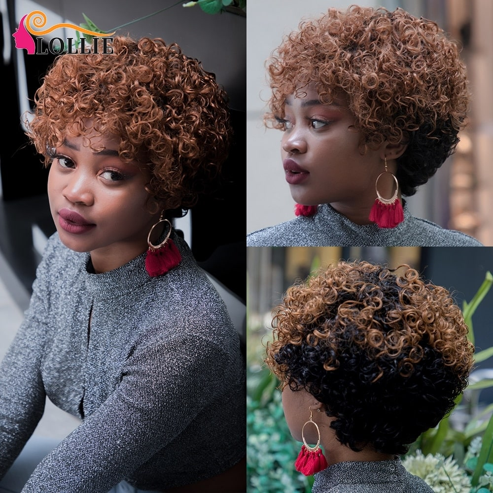 3.10. NEOBEAUTY Pixie Cut Kinky Curly Non Remy Human Hair Wig-Best AliExpress
