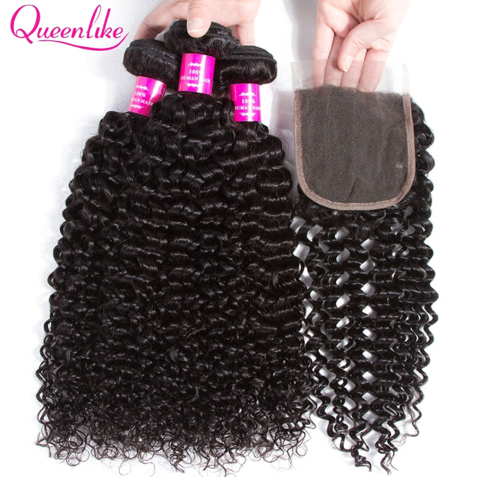 3.8. Queenlike Non Remy Brazilian Kinky Curly Bundles With Closure-Best AliExpress