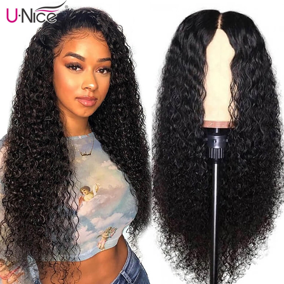 3.9. UNICE Curly Non Remy Hair Wig with HD Transparent Lace-Best AliExpress