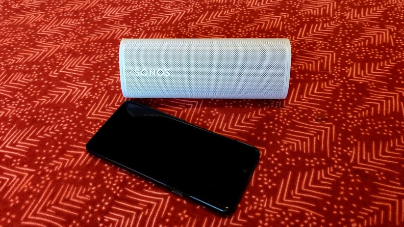 Sonos Roam on red table top