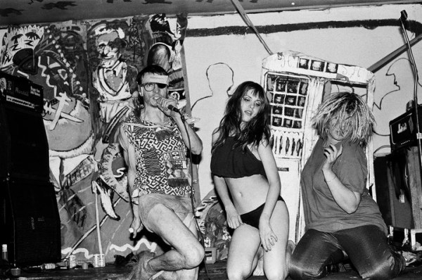 Lisa Carver and her punkrock opera, early 1990's , before the nude show begins...