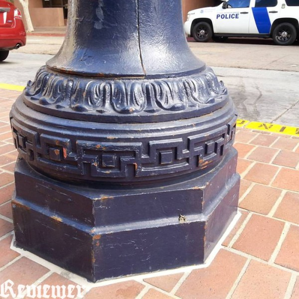 San Diego lamp post base, south of Broadway, between Federal Building and Horton Plaza. Photo by Reviewer Magazine.