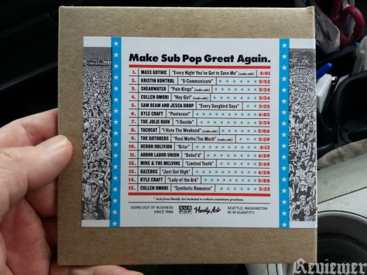 Make Sub Pop Great Again label catalog comp, back.