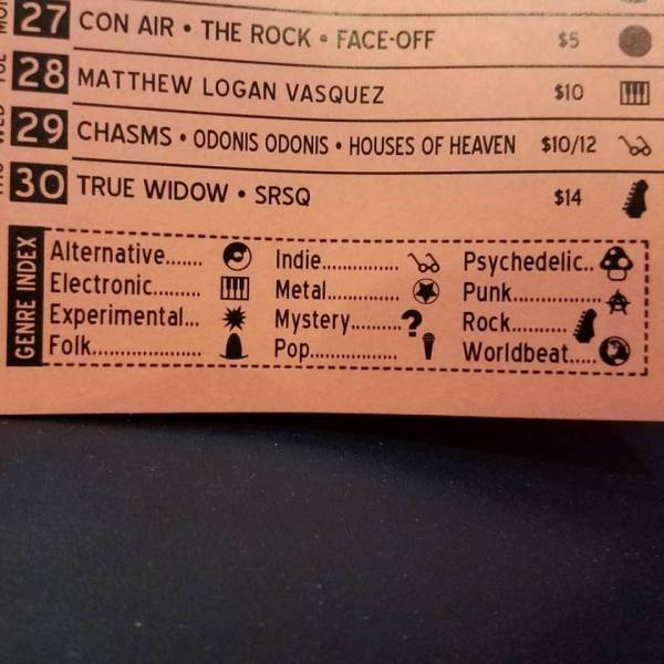 Closeup of the Soda Bar schedule's genre legend. Instructions for the music scene novice. Know your tunes!