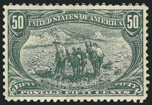 "1898 50-cent U.S. postal Western Mining Prospector: This design was taken from a drawing by Frederic Remington, entitled ""The Gold Bug."" It pictures an old prospector, who, with two pack burros, makes his way through mountain country in search of riches."