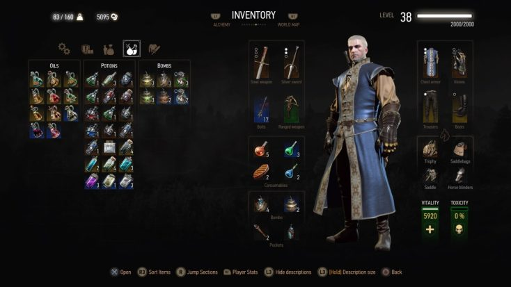 Witcher 3 Blood and Wine Menu
