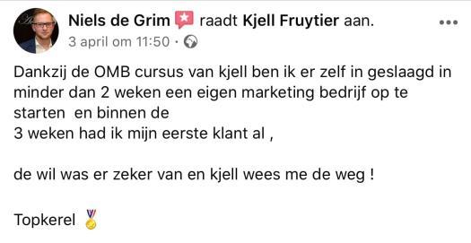 Facebook getuigenis van Niels de grim Niels de Grim raadt Kjell Fruytier aan