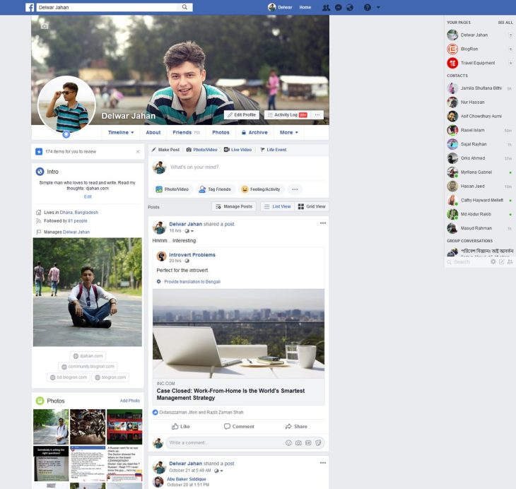 facebook profile 2018