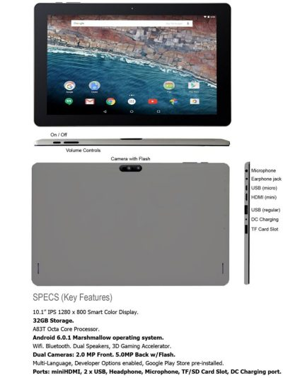 PumpkinX Tablet 10.1 inch IPS Smart Color Display 1280x800, Allwinner A83T Octa Core Tablet upto 2.0 GHz, Google Android Marshmallow 6.0.1, RAM 1GB, Storage 32GB, HDMI, 5MP Camera with Flash