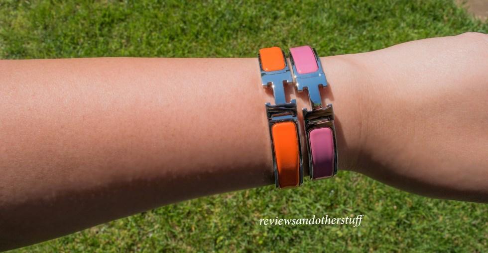 hermes clic h enamel bracelet in orange and rose velour pm gm