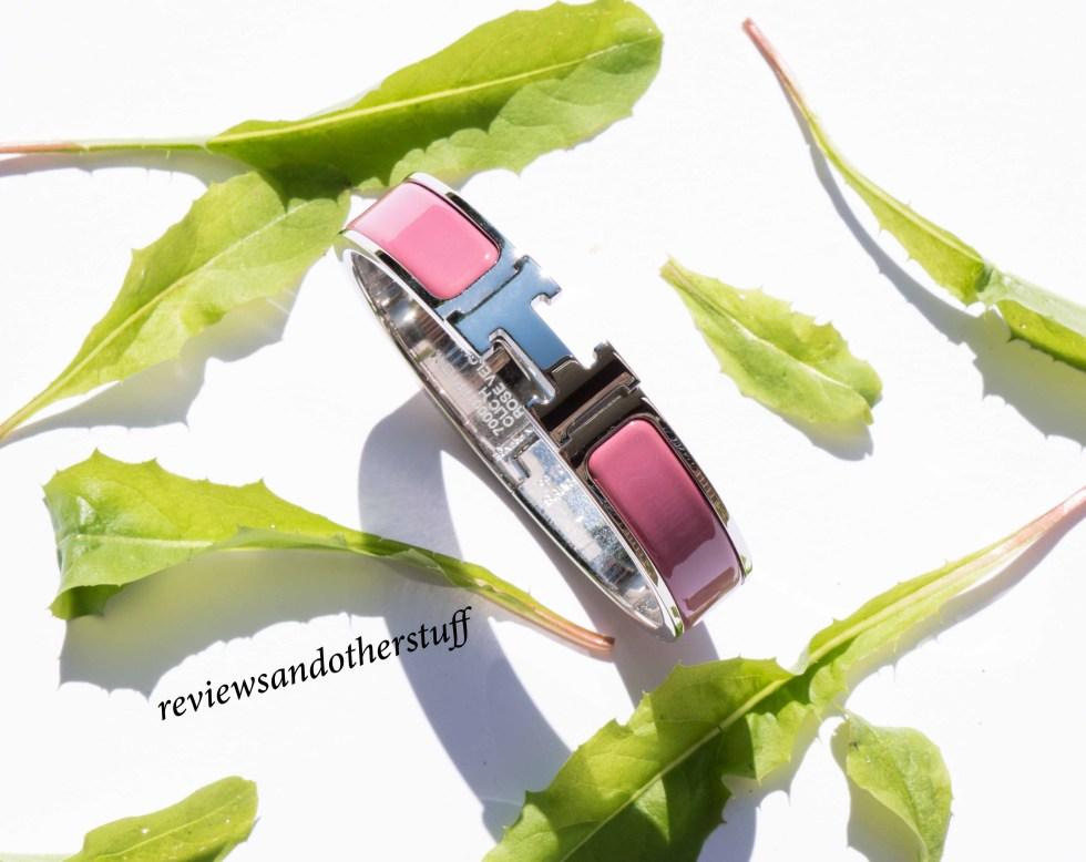 hermes enamel bracelet in rose velour