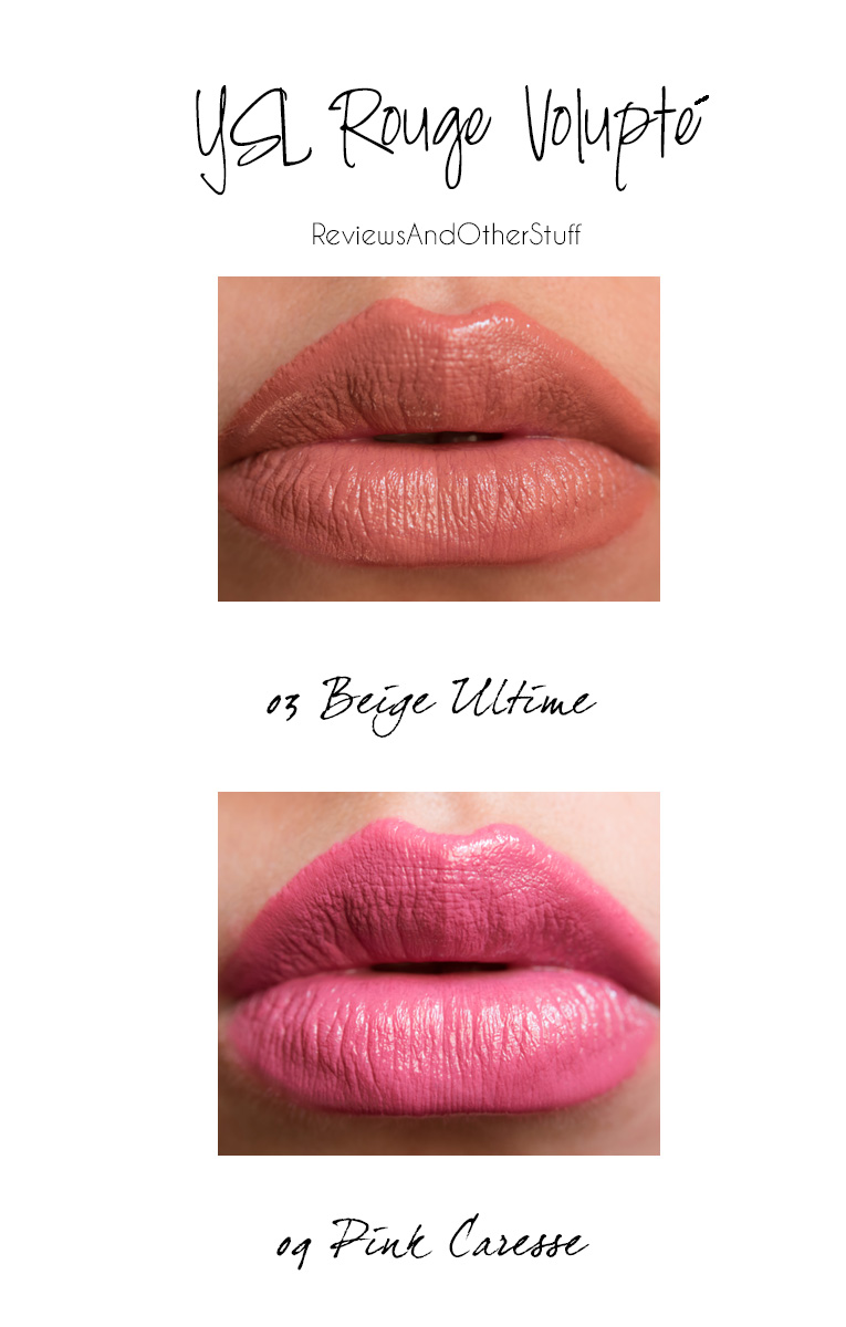 ysl rouge volupte in 03 beige ultime and 09 pink rose caresse