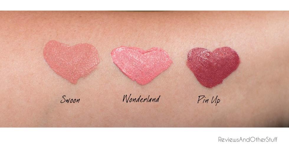 ciate liquid velvet moisturizing matte liquid lipstick swatches in swoon wonderland pin up