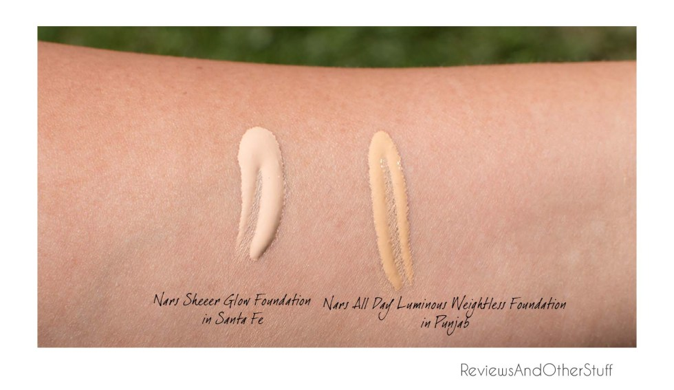 nars sheer glow foundation in santa fe swatch nars all day luminous weightless in punjab swatch