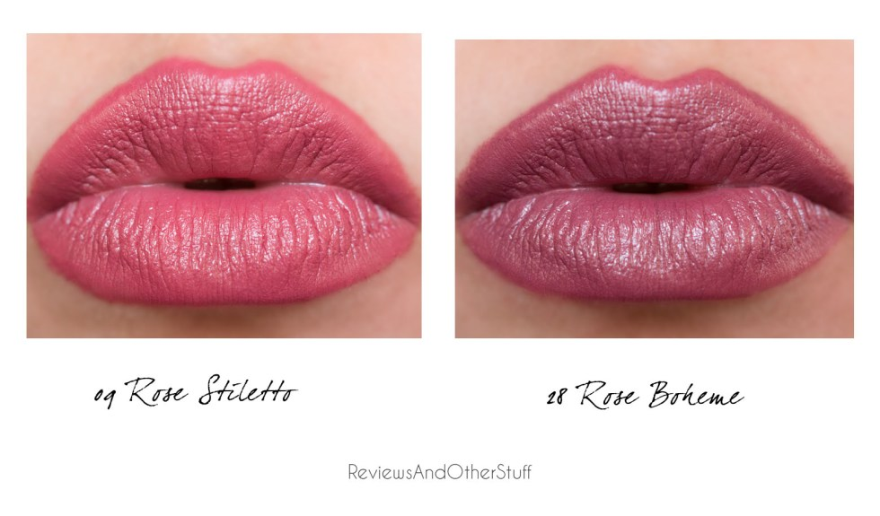 ysl rouge pur couture 28 rose boheme and 09 rose stiletto lips swatches
