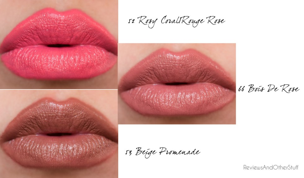 ysl rouge pur couture 52 rosy coral rouge rose 66 bois de rose 53 beige promenade review