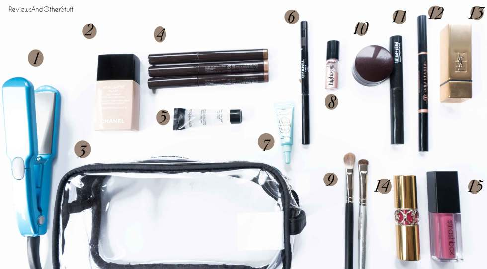 makeup products packed short trips