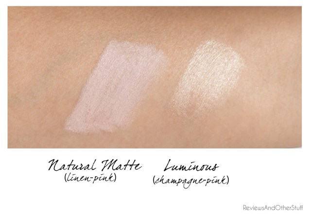 benefit high brow swatches in natural and luminous