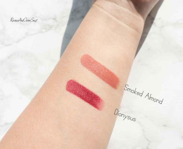 Mac liptensity lipstick swatches smoked almond Dionysus