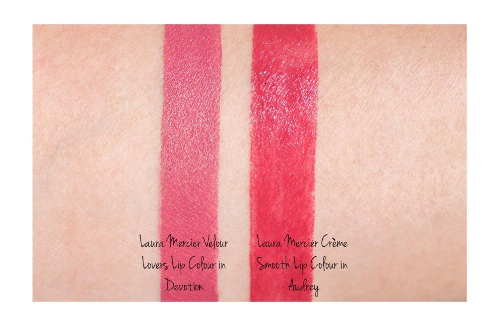 Laura Mercier Velour Lovers Lip Colour in Devotion swatch Laura Mercier Creme Smooth Lip Colour in Audrey